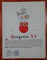 HERALDIQUE PAPE POPE GREGORIO XV. HAND PAINTED SIZE 42x32 Cm. CIRCA 1925. ORIGINAL - BLEUP - Altre Collezioni