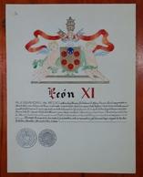 HERALDIQUE PAPE POPE LEON XI. HAND PAINTED SIZE 42x32 Cm. CIRCA 1925. ORIGINAL - BLEUP - Altre Collezioni