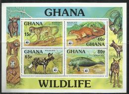 GHANA  1977 WWF WILDLIFE FAUNA NATURE ANIMALS ANIMALI BLOCK SHEET BLOCCO FOGLIETTO MNH - Ghana (1957-...)