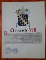 HERALDIQUE PAPE POPE CLEMENTE VIII. HAND PAINTED SIZE 42x32 Cm. CIRCA 1925. ORIGINAL - BLEUP - Altre Collezioni