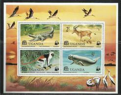 UGANDA 1977 FAUNA WWF ANIMALS WILDLIFE NATURE ANIMALI NATURA BLOCK SHEET BLOCCO FOGLIETTO BLOC FEUILLET MNH - Uganda (1962-...)