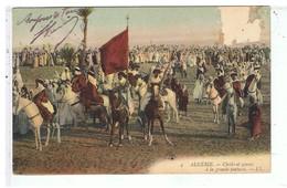 CPA-ALGERIE-1908-SCENES ET TYPES-CHEIKS ET GOUMS A LA GRANDE FANTASIA- - Scenes