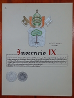 HERALDIQUE PAPE POPE INOCENCIO IX. HAND PAINTED SIZE 42x32 Cm. CIRCA 1925. ORIGINAL - BLEUP - Altre Collezioni