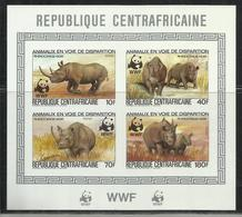 REPUBBLICA CENTRAFRICANA CENTRAFRICAINE CENTRAL AFRICAN REPUBLIC 1983 WWF WILDLIFE NATURE RHINO BLOCK SHEET BLOCCO MNH - Repubblica Centroafricana