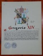 HERALDIQUE PAPE POPE GREGORIO XIV. HAND PAINTED SIZE 42x32 Cm. CIRCA 1925. ORIGINAL - BLEUP - Altre Collezioni