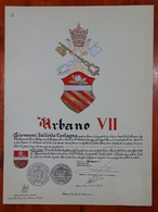 HERALDIQUE PAPE POPE URBANO VII. HAND PAINTED SIZE 42x32 Cm. CIRCA 1925. ORIGINAL - BLEUP - Altre Collezioni