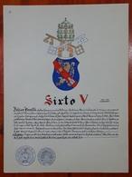HERALDIQUE PAPE POPE SIXTO V. HAND PAINTED SIZE 42x32 Cm. CIRCA 1925. ORIGINAL - BLEUP - Altre Collezioni