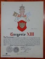 HERALDIQUE PAPE POPE GREGORIO VIII. HAND PAINTED SIZE 42x32 Cm. CIRCA 1925. ORIGINAL - BLEUP - Altre Collezioni