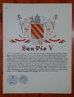 HERALDIQUE PAPE POPE SAN PIO V. HAND PAINTED SIZE 42x32 Cm. CIRCA 1925. ORIGINAL - BLEUP - Altre Collezioni