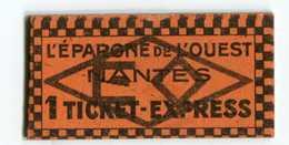 """Jeton Carton - Monnaie De Nécessité """"L'Epargne De L'Ouest / Nantes / 1 Ticket-express"""" Loire Atlantique  Emergency Token - Monetary / Of Necessity"""