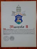 HERALDIQUE PAPE POPE MARCELO II. HAND PAINTED SIZE 42x32 Cm. CIRCA 1925. ORIGINAL - BLEUP - Altre Collezioni