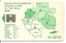 CARTE-PUCE-GABON-50U-SC7- CARTE-VERT -PLAN NUMEROTAGE-V° AVEC N°Rge C35141482-TBE - Gabon