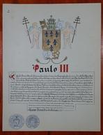 HERALDIQUE PAPE POPE PAULO III. HAND PAINTED SIZE 42x32 Cm. CIRCA 1925. ORIGINAL - BLEUP - Altre Collezioni