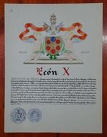HERALDIQUE PAPE POPE LEON X. HAND PAINTED SIZE 42x32 Cm. CIRCA 1925. ORIGINAL - BLEUP - Altre Collezioni