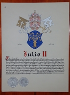HERALDIQUE PAPE POPE JULIO II. HAND PAINTED SIZE 42x32 Cm. CIRCA 1925. ORIGINAL - BLEUP - Altre Collezioni