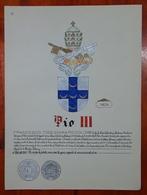 HERALDIQUE PAPE POPE PIO III. HAND PAINTED SIZE 42x32 Cm. CIRCA 1925. ORIGINAL - BLEUP - Altre Collezioni