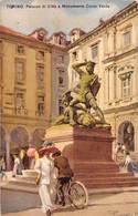 """1489 """"TORINO - PALAZZO DI CITTA' E MONUMENTO CONTE VERDE """" CART. POST. ILLUSTRATA  ORIG. SPEDITA - Autres Monuments, édifices"""