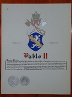 HERALDIQUE PAPE POPE PABLO II. HAND PAINTED SIZE 42x32 Cm. CIRCA 1925. ORIGINAL - BLEUP - Altre Collezioni