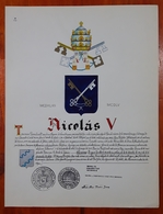 HERALDIQUE PAPE POPE NICOLAS V. HAND PAINTED SIZE 42x32 Cm. CIRCA 1925. ORIGINAL - BLEUP - Altre Collezioni