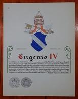 HERALDIQUE PAPE POPE EUGENIO IV. HAND PAINTED SIZE 42x32 Cm. CIRCA 1925. ORIGINAL - BLEUP - Altre Collezioni