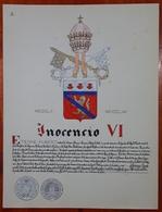 HERALDIQUE PAPE POPE INOCENCIO VI. HAND PAINTED SIZE 42x32 Cm. CIRCA 1925. ORIGINAL - BLEUP - Altre Collezioni