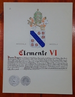 HERALDIQUE PAPE POPE CLEMENTE VI. HAND PAINTED SIZE 42x32 Cm. CIRCA 1925. ORIGINAL - BLEUP - Altre Collezioni