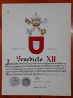 HERALDIQUE PAPE POPE BENEDICTO XII. HAND PAINTED SIZE 42x32 Cm. CIRCA 1925. ORIGINAL - BLEUP - Altre Collezioni