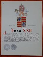 HERALDIQUE PAPE POPE JUAN XXII. HAND PAINTED SIZE 42x32 Cm. CIRCA 1925. ORIGINAL - BLEUP - Altre Collezioni