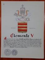 HERALDIQUE PAPE POPE CLEMENTE V. HAND PAINTED SIZE 42x32 Cm. CIRCA 1925. ORIGINAL - BLEUP - Altre Collezioni