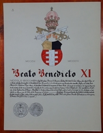 HERALDIQUE PAPE POPE BEATO BENEDICTO XI. HAND PAINTED SIZE 42x32 Cm. CIRCA 1925. ORIGINAL - BLEUP - Altre Collezioni