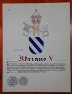 HERALDIQUE PAPE POPE ADRIANO V. HAND PAINTED SIZE 42x32 Cm. CIRCA 1925. ORIGINAL - BLEUP - Altre Collezioni