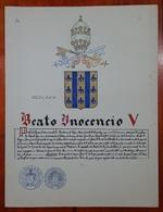HERALDIQUE PAPE POPE BEATO INOCENCIO V. HAND PAINTED SIZE 42x32 Cm. CIRCA 1925. ORIGINAL - BLEUP - Altre Collezioni