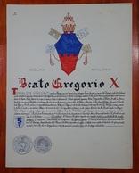 HERALDIQUE PAPE POPE BEATO GREGORIO X. HAND PAINTED SIZE 42x32 Cm. CIRCA 1925. ORIGINAL - BLEUP - Altre Collezioni