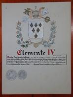 HERALDIQUE PAPE POPE CLEMENTE IV. HAND PAINTED SIZE 42x32 Cm. CIRCA 1925. ORIGINAL - BLEUP - Altre Collezioni