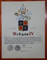 HERALDIQUE PAPE POPE URBANO IV. HAND PAINTED SIZE 42x32 Cm. CIRCA 1925. ORIGINAL - BLEUP - Altre Collezioni