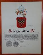 HERALDIQUE PAPE POPE ALEJANDRO IV. HAND PAINTED SIZE 42x32 Cm. CIRCA 1925. ORIGINAL - BLEUP - Altre Collezioni