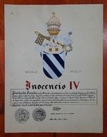 HERALDIQUE PAPE POPE INOCENCIO IV. HAND PAINTED SIZE 42x32 Cm. CIRCA 1925. ORIGINAL - BLEUP - Altre Collezioni