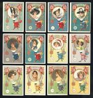 Lot De 12 Chromos Art Nouveau Chocolat Rey (4 X 6 Cms)  (Ref. 114953) - Chocolat