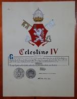 HERALDIQUE PAPE POPE CELESTINO IV. HAND PAINTED SIZE 42x32 Cm. CIRCA 1925. ORIGINAL - BLEUP - Altre Collezioni