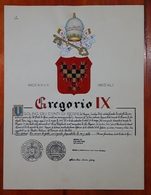 HERALDIQUE PAPE POPE GREGORIO IX. HAND PAINTED SIZE 42x32 Cm. CIRCA 1925. ORIGINAL - BLEUP - Other Collections
