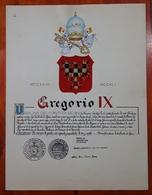 HERALDIQUE PAPE POPE GREGORIO IX. HAND PAINTED SIZE 42x32 Cm. CIRCA 1925. ORIGINAL - BLEUP - Altre Collezioni