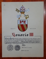 HERALDIQUE PAPE POPE HONORIO III. HAND PAINTED SIZE 42x32 Cm. CIRCA 1925. ORIGINAL - BLEUP - Altre Collezioni