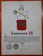 HERALDIQUE PAPE POPE INOCENCIO III. HAND PAINTED SIZE 42x32 Cm. CIRCA 1925. ORIGINAL - BLEUP - Altre Collezioni