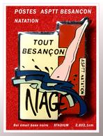 """SUPER PIN'S POSTES-ASPTT BESANCON (25) : NATATION, """"TOUT BESANCON (25) NAGE En émail Base Noire + Vernis, STADIUM - Natation"""