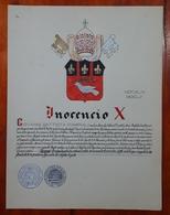 HERALDIQUE PAPE POPE INOCENCIO X. HAND PAINTED SIZE 42x32 Cm. CIRCA 1925. ORIGINAL - BLEUP - Altre Collezioni