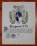HERALDIQUE PAPE POPE GREGORIO XVI. HAND PAINTED SIZE 42x32 Cm. CIRCA 1925. ORIGINAL - BLEUP - Altre Collezioni