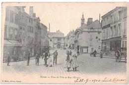 08 Rethel Place De Ville Et Rue D' Evigny Cpa Carte Animée Animation Cachet Rethel 1904 Marque Postale Facteur Belge - Rethel