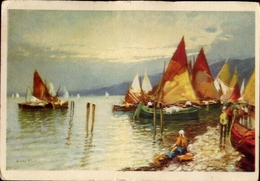 Cartolina Dipinta - Barche A Vela - 1950 - Formato Grande Non Viaggiata – Sda - Cartes Postales