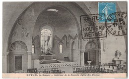 Cachet Daguin Rethel 08 Ardennes Visitez Le Nouveau Rethel 1927 Sur Cpa Interieur De La Nouvelle Eglise Des Minimes - Rethel