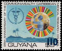 Guyana 1981 (14 Nov) 110c On $3 Caduceus Blue Surcharge Unmounted Mint. - Guyana (1966-...)